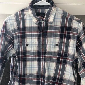 Flannel plaid American eagle button up